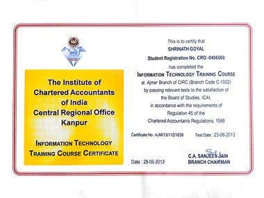 CERTIFICATION OF INFORMATION TECHNOLOGY TRAINING from ICAI