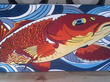 Carp fish painting by Rachel Savage