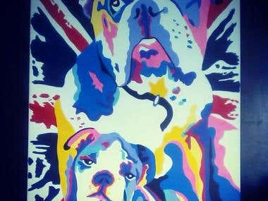 Bulldog pop art portrait by Rachel Savage
