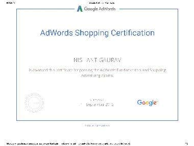 Adwords Shopping Certificate.