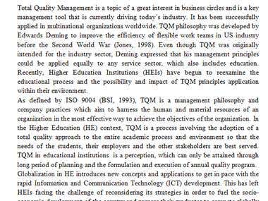 TQM in Higher Education Concept Note