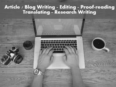 Writing, Editing , Proof-reading , Translating , Research