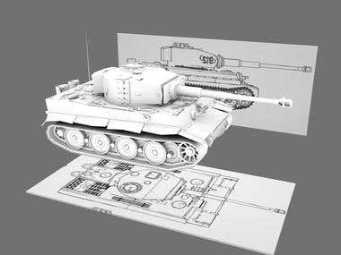 German WW2 Tiger Tank - made to scale from scratch.