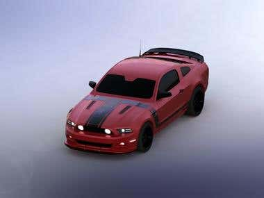 Rendered Car - Ford Mustang