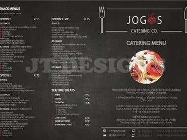 Brochure (outside) design for Jogos Catering (South Africa)