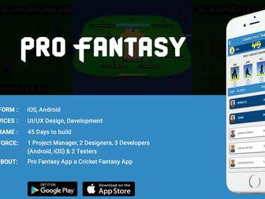 Pro-fantasy - A cricket and football fantasy application