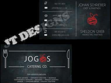 Business card design for Jogos Catering (South Africa)
