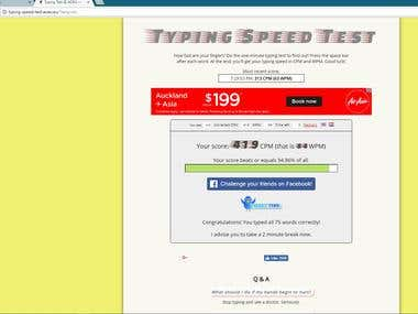 WPM test verification 84 WPM at 100% accuracy
