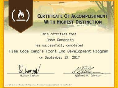 Certificate Free code Camp's Front end Development Program