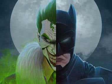 Digital Painting : Batman vs Joker (Comic Art)