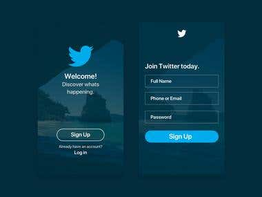 Sign Up App Screen Design