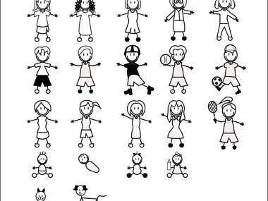 Stick figures for stickers