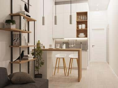Design of kitchen area in the small apartment for Airbnb.