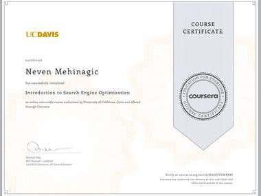 UC Davis SEO Course Certificate