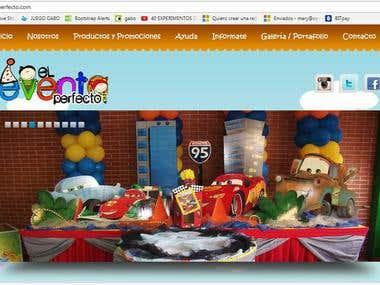 Sitio web de eventos infantiles