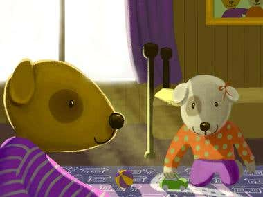 Dogs playing. (Children's book illustration)