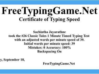 Free Typing Certificate
