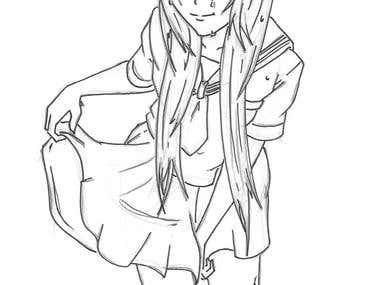 Anime girl traditional art