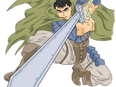 Anime male digital drawing