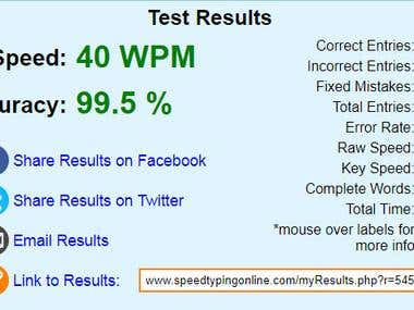 Speed Typing Online Certificate