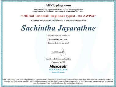 Alpha Typing Certificate (Microsoft Certificate)