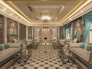Design Reception for villa - 3d Realstic render