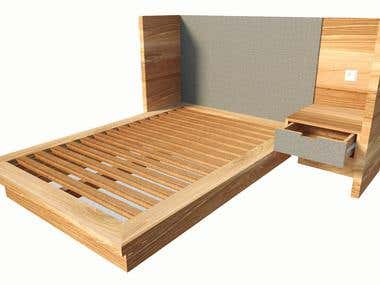 Bed + Bedside Table