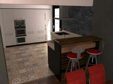 Kitchen and sofa render
