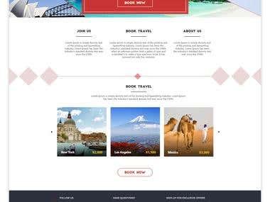Website mock-up design for tour & travels company
