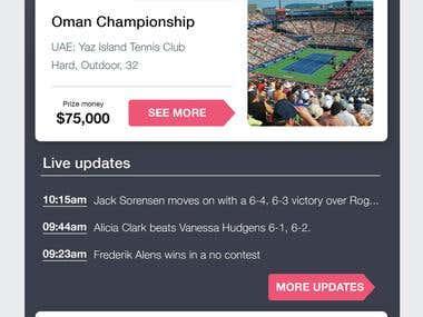 FedApp - Tennis sport event
