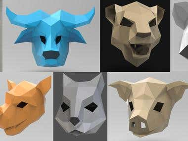 3d paper animals.