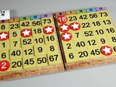 Bingo cards , design modeling and texturing for game