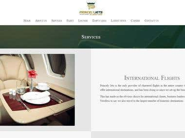 Luxury airline charters: Website content
