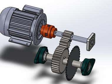Gear transmission system of spur gear for an industrial saw