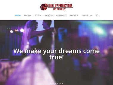 Wordpress website for High Life Productions.