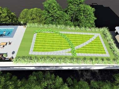 Design of rooftop Garden and swimming pool above garage