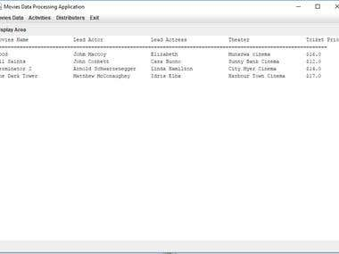 JAVA GUI application for movies data processing