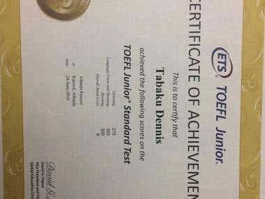 TOEFL GOLD Certificate