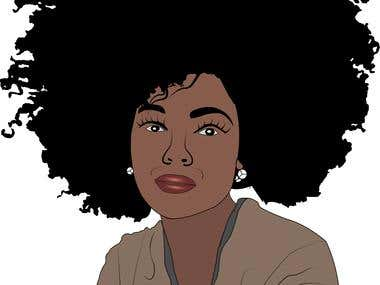 Afro American hair style illustration