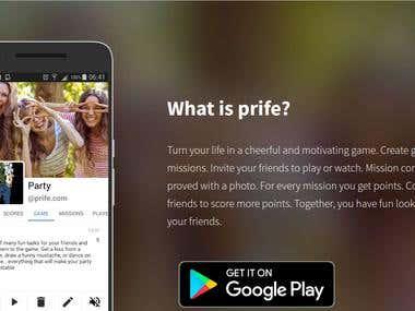 Prife.Com mobile app landing page