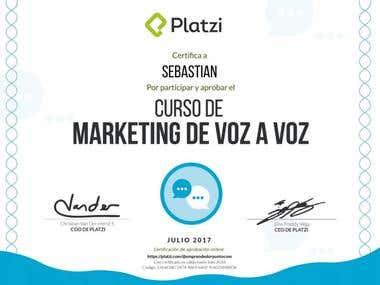 Titulo de marketing voz a voz de la pagina Platzi.com