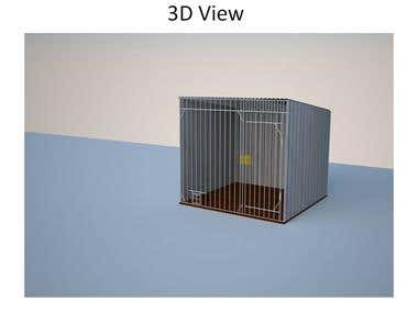 Dog kennel 3- Technical Documentation with 3D & 2D