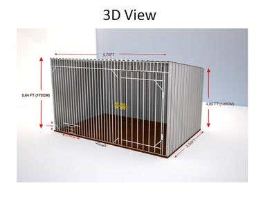 Dog kennel 2- Technical Documentation with 3D & 2D