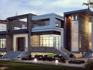 Modern-Arabian style villa in KSA.