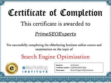 Certificate for Search Engine Optimisation