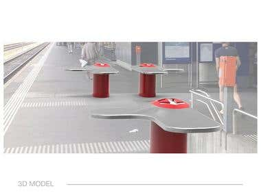 Urban railway bench