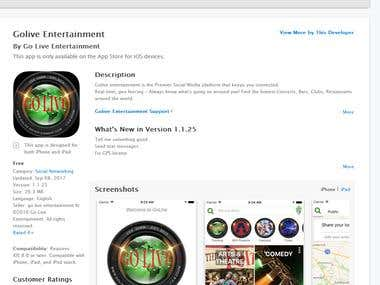 Go live entertainment iPhone app