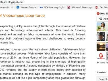 Personal blog with Vietnamese economy related content