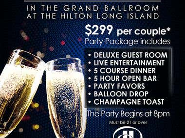 Postcard Design for Hilton Hotel New Year's Eve