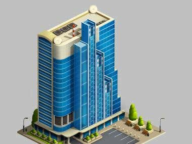 Isometric building for game
